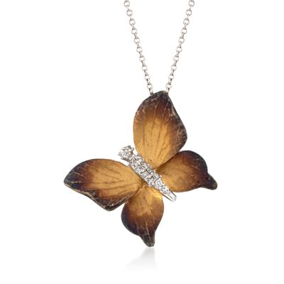 Simon G. .10 ct. t.w. Diamond Butterfly Pendant Necklace in 18kt Two-Tone Gold