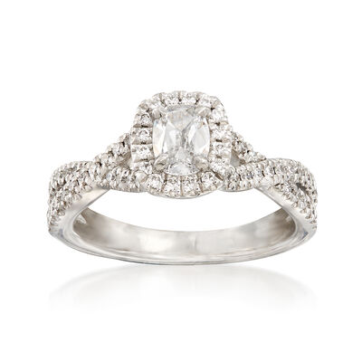 Henri Daussi .85 ct. t.w. Diamond Halo Engagement Ring in 18kt White Gold, , default