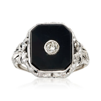 C. 1930 Vintage Black Onyx and .10 ct. t.w. Diamond Ring in 14kt Gold and Platinum, , default