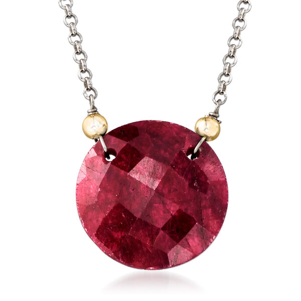17.00 Carat Red Corundum Necklace in Sterling Silver and 14kt Yellow Gold #921271