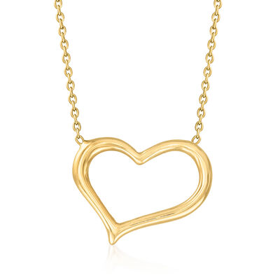 C. 2010 Vintage 18kt Yellow Gold Open-Space Heart Necklace
