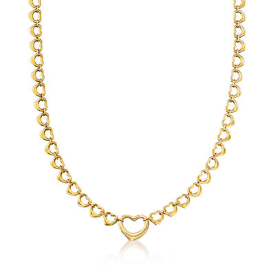 """C. 1990 Vintage Tiffany Jewelry """"Elsa Peretti"""" Heart Necklace in 18kt Yellow Gold, , default"""