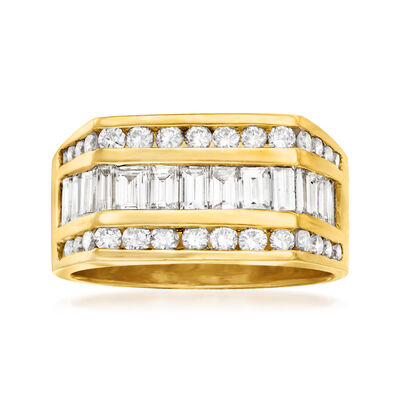 C. 1980 Vintage 2.15 ct. t.w. Baguette and Round Diamond Ring in 14kt Yellow Gold