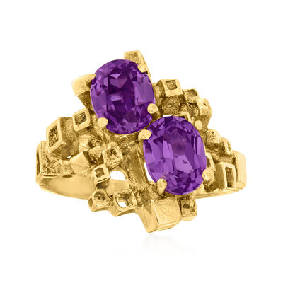 C. 1960 Vintage 2.80 ct. t.w. Synthetic Multicolored Sapphire Ring in 14kt Yellow Gold