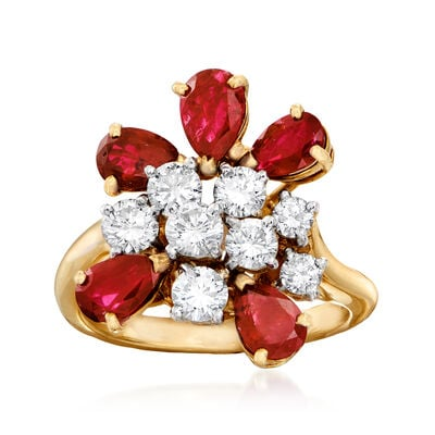 C. 1980 Vintage 2.75 ct. t.w. Ruby and 1.00 ct. t.w. Diamond Cluster Ring in 18kt Yellow Gold, , default