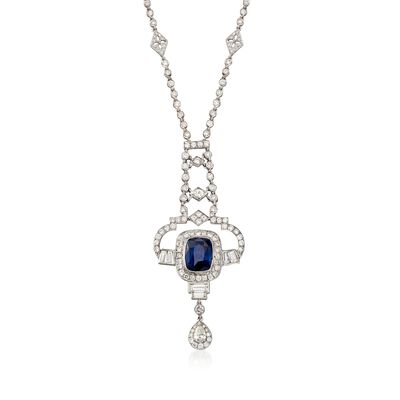 C. 1990 Vintage 5.50 Carat Sapphire and 5.35 ct. t.w. Diamond Drop Necklace in 18kt White Gold , , default