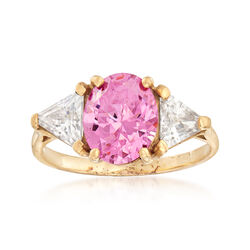 C. 1990 Vintage 3.10 ct. t.w. Pink and White CZ Ring in 10kt Yellow Gold, , default