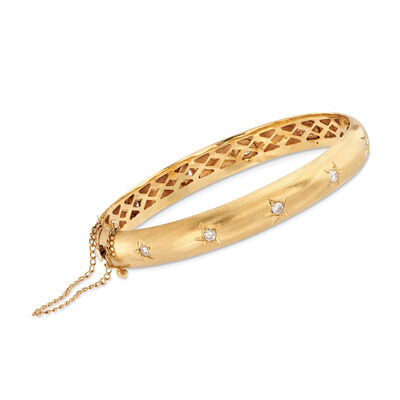 C. 1970 Vintage 1.00 ct. t.w. Diamond Star Bangle Bracelet in 18kt Yellow Gold  , , default