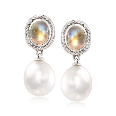 C. 1990 Vintage Assael 13x11mm Cultured Tahitian Pearl and Moonstone Drop Earrings in 18kt White Gold