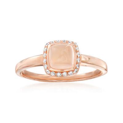 C. 1990 Vintage Fred 1.30 Carat Pink Quartz Ring with .15 ct. t.w. Diamonds in 18kt Rose Gold