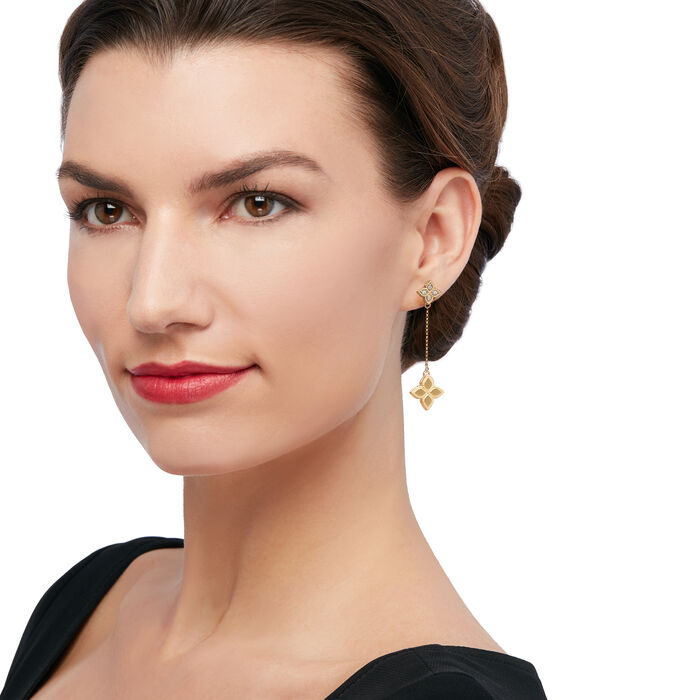 """Roberto Coin """"Princess Flower"""" Diamond-Accented Drop Earrings in 18kt Yellow Gold"""