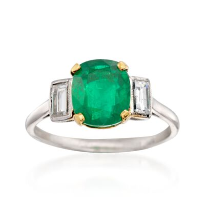 C. 1990 Vintage 2.65 Carat Emerald and .45 ct. t.w. Diamond Ring in Platinum, , default