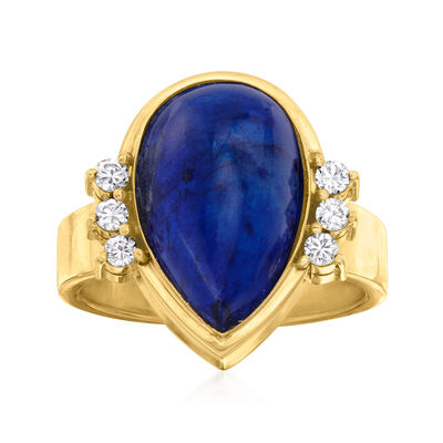 C. 1980 Vintage Lapis and .20 ct. t.w. Diamond Ring in 14kt Yellow Gold