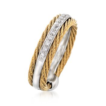 ALOR Classique .12 Carat Total Weight Diamond and Yellow Stainless Steel Cable Band with 18-Karat White Gold. Size 7, , default