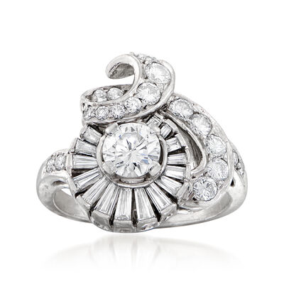C. 1960 Vintage 1.80 ct. t.w. Diamond Cocktail Ring in Platinum