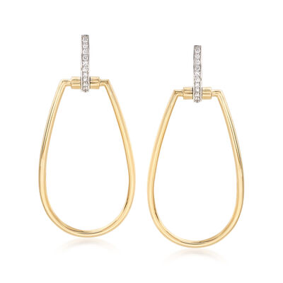 "Roberto Coin ""Parisienne"" .20 ct. t.w. Diamond Open Oval Drop Earrings in 18kt Two-Tone Gold, , default"