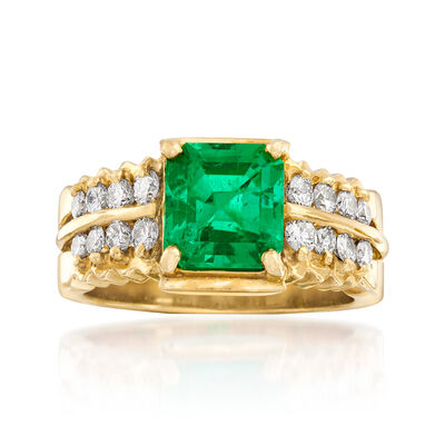 C. 1980 Vintage 1.56 Carat Certified Colombian Emerald and .50 ct. t.w. Diamond Ring in 18kt Yellow Gold, , default