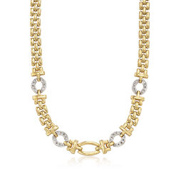 C. 1980 Vintage .65 ct. t.w. Diamond Panther-Link Necklace in 14kt Yellow Gold, , default
