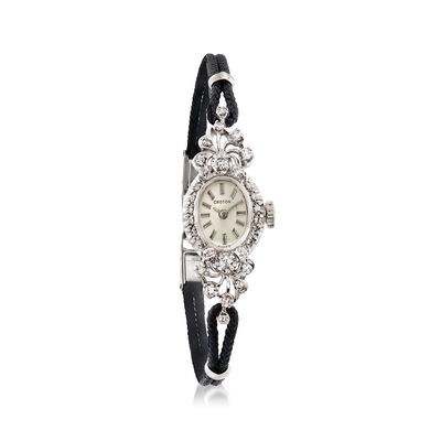 C. 1950 Vintage Women's 14mm Mechanical .50 ct. t.w. Diamond Watch in 14kt White Gold, , default
