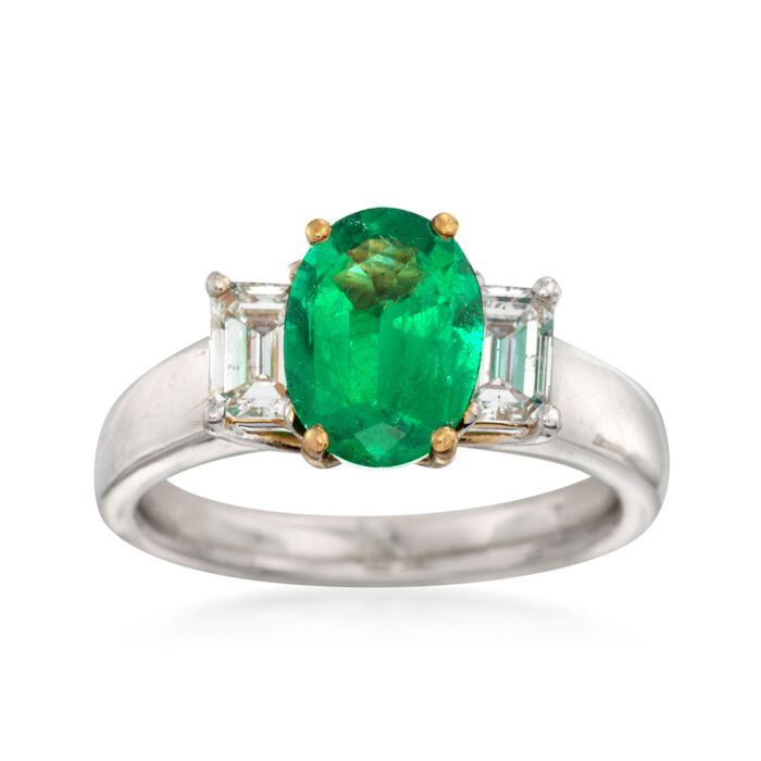 C. 2000 Vintage 1.54 Carat Emerald and .70 ct. t.w. Diamond Ring in Platinum. Size 6.5, , default