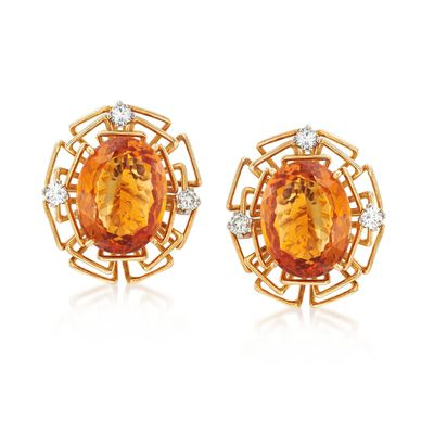 C. 1975 Vintage 15.50 ct. t.w. Citrine and .60 ct. t.w. Diamond Earrings with British Hallmark in 18kt Yellow Gold, , default