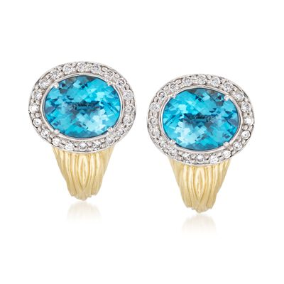 C. 1980 Vintage 9.20 ct. t.w. Blue Topaz and .80 ct. t.w. Diamond Earrings in 18kt Two-Tone Gold, , default