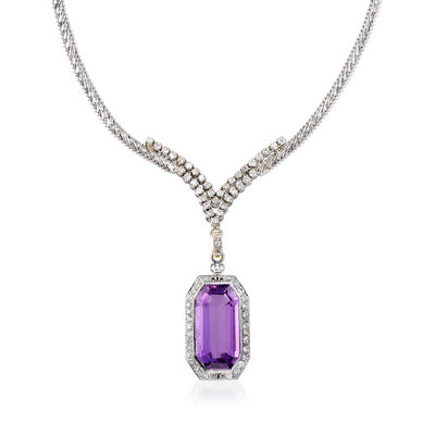 C. 1970 Vintage 29.00 Carat Amethyst and 3.20 ct. t.w. Diamond Necklace in 14kt White Gold, , default