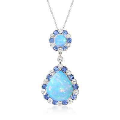 C. 1990 Vintage Opal, 3.20 ct. t.w. Sapphire and 1.25 ct. t.w. Diamond Pendant Necklace in 18kt White Gold