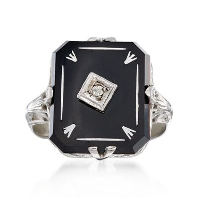 C. 1950 Vintage Black Onyx Ring with Diamond Accents in 14kt White Gold