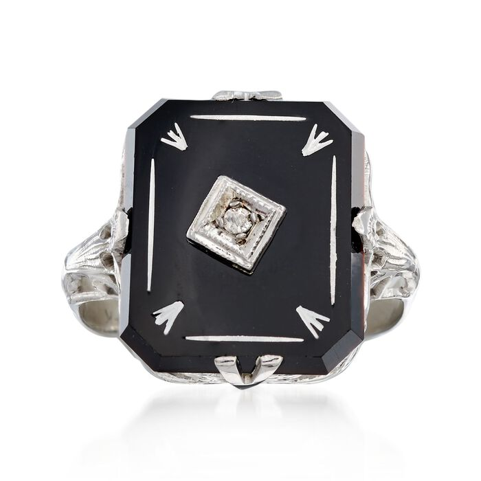C. 1950 Vintage Black Onyx Ring with Diamond Accents in 14kt White Gold. Size 5.5, , default