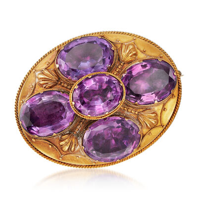 C. 1920 Vintage 24.75 ct. t.w. Amethyst Pin in 18kt Yellow Gold, , default