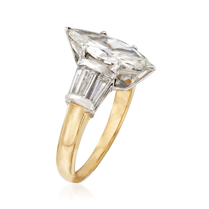 C. 1980 Vintage 2.29 ct. t.w. Diamond Ring in Platinum and 14kt Yellow Gold
