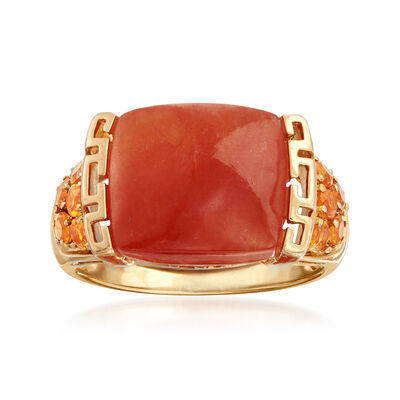 C. 1990 Vintage 13x11mm Red Jade and .40 ct. t.w. Orange Citrine Ring in 14kt Yellow Gold, , default