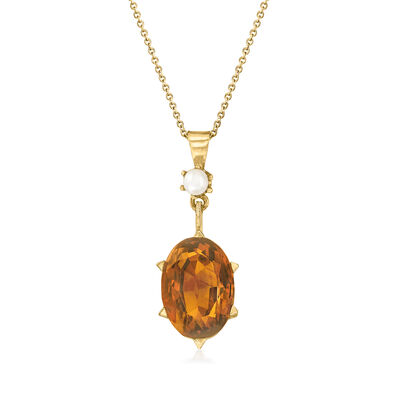 C. 1950 Vintage 11.00 Carat Citrine Pendant Necklace with 4mm Cultured Pearl in 14kt Yellow Gold