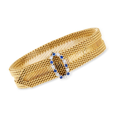 C. 1970 Vintage .35 ct. t.w. Sapphire and .20 ct. t.w. Diamond Adjustable Bracelet in 14kt Yellow Gold, , default