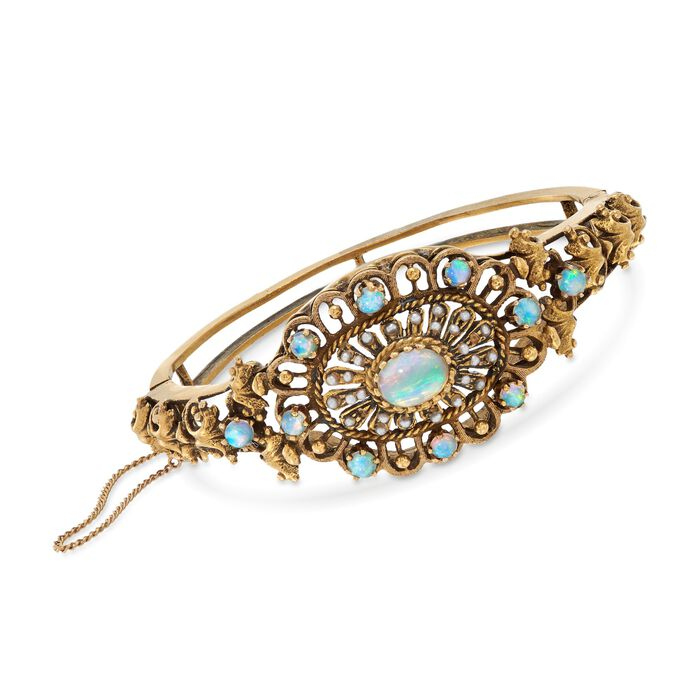 "C. 1980 Vintage Opal and Cultured Seed Pearl Openwork Bangle Bracelet in 14kt Yellow Gold. 7"", , default"