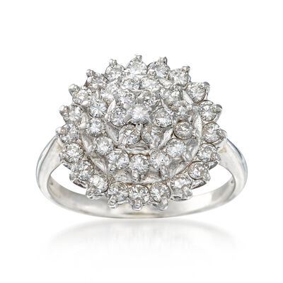 C. 1990 Vintage 1.05 ct. t.w. Diamond Cluster Ring in 14kt White Gold, , default