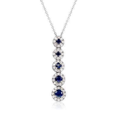 C. 1980 Vintage .65 ct. t.w. Sapphire and .30 ct. t.w. Diamond Drop Necklace in 18kt White Gold