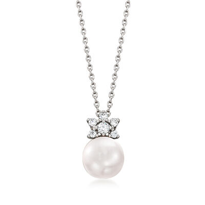 Mikimoto 8.25mm A+ Akoya Pearl and .11 ct. t.w. Diamond Pendant Necklace in 18kt White Gold