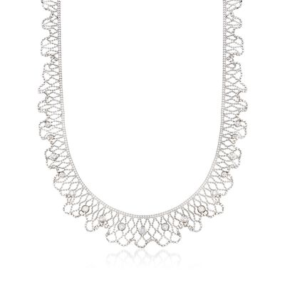 C. 1990 Vintage 1.00 ct. t.w. Diamond Mesh Necklace in 18kt White Gold, , default