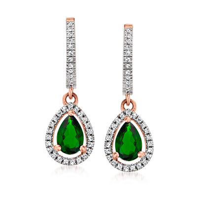 C. 1990 Vintage .70 ct. t.w. Chrome Diopside Drop Earrings with .19 ct. t.w. Diamonds in 14kt Rose Gold
