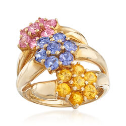 C. 1990 Vintage 3.15 ct. t.w. Multicolored Sapphire Flower Ring in 14kt Yellow Gold, , default