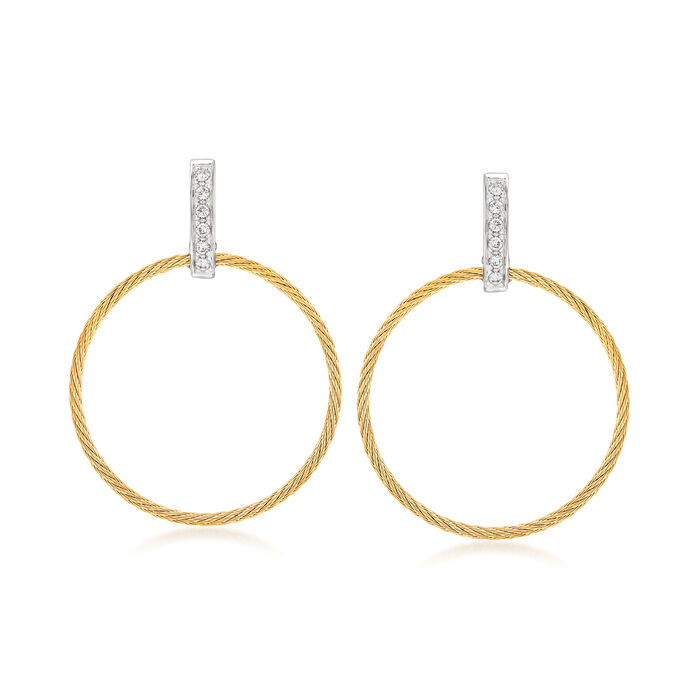 """ALOR """"Classique"""" .10 ct. t.w. Diamond Yellow Stainless Steel Open-Circle Drop Earrings with 18kt White Gold"""