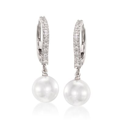 Mikimoto 7.5mm Akoya Pearl Drop Earrings with Diamonds in 18kt White Gold, , default