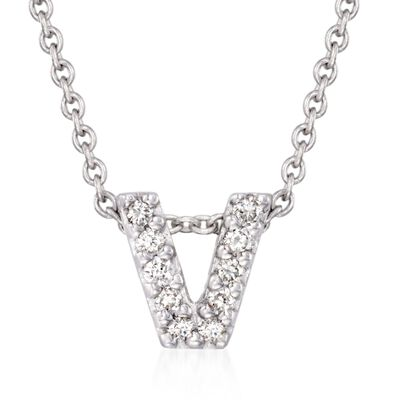 "Roberto Coin ""Love Letter"" Diamond Accent Initial ""V"" Necklace in 18kt White Gold, , default"