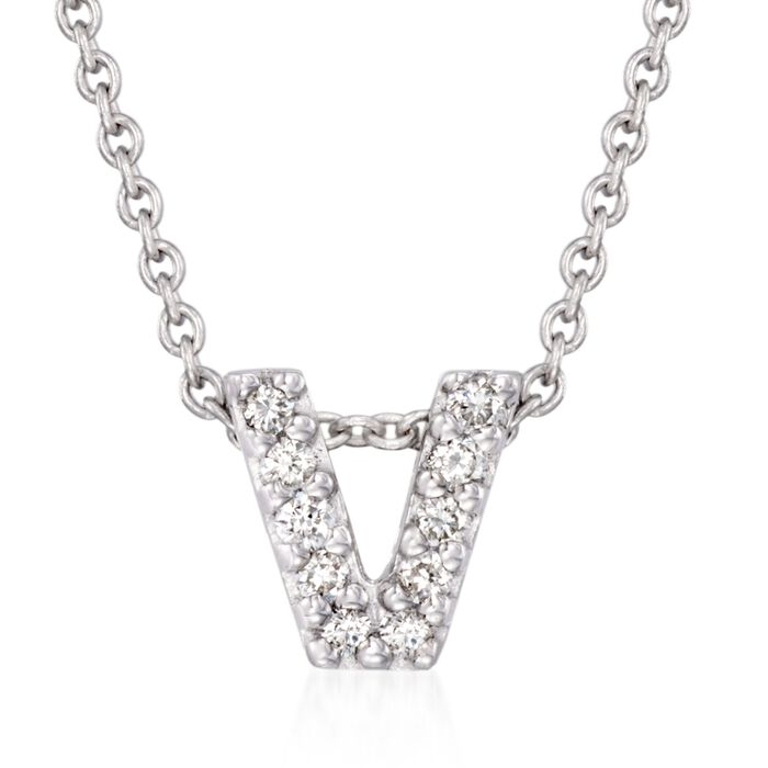"""Roberto Coin """"Love Letter"""" Diamond Accent Initial """"V"""" Necklace in 18kt White Gold"""