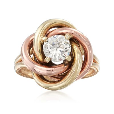 C. 1980 Vintage .91 Carat Diamond and 14kt Two-Tone Gold Knot Ring, , default