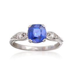C. 1990 Vintage 1.26 Carat Sapphire Ring With Diamond Accents in Platinum, , default