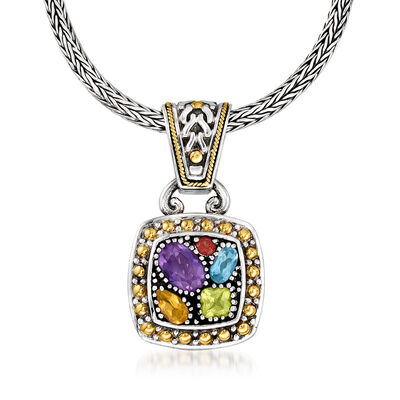 C. 1990 Vintage Effy 1.66 ct. t.w. Multi-Gemstone Pendant Necklace in Sterling Silver with 18kt Yellow Gold