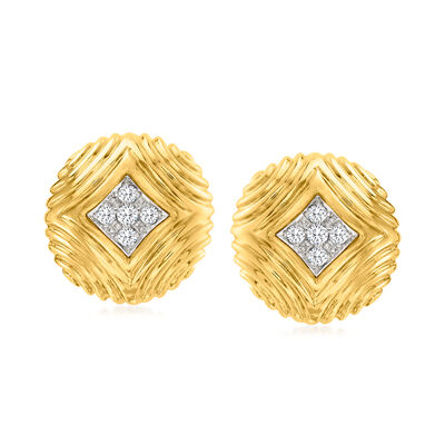 C. 1980 Vintage .60 ct. t.w. Diamond Button Clip-On Earrings in 18kt Yellow Gold